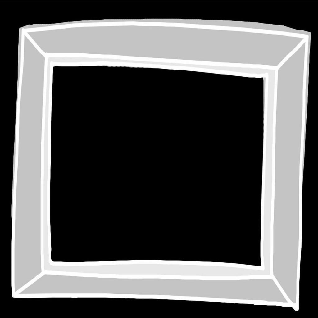 Tres cuadrados en tonos grises que dan la sensación de un marco sobre un fondo negro.